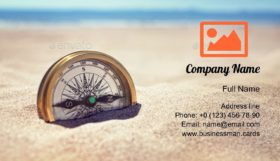 Compass on the Beach Business Card Template