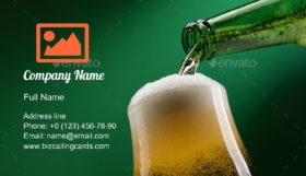 Pouring Beer into Glass Business Card Template