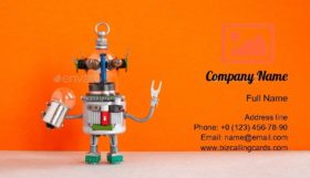 Robot Handyman with Bulb Business Card Template