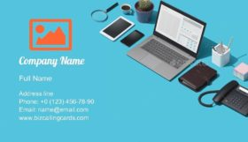 Blue Desktop with Laptop Business Card Template