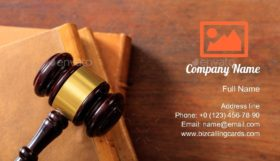 Gavel on Law Books Business Card Template