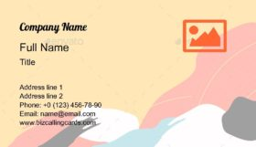 Yellow Abstract Shaped Business Card Template