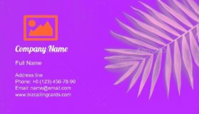 Purple Tropical Palm Business Card Template
