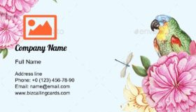 Vintage Parrots Border Business Card Template