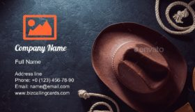 Cowboy Hat on Black Business Card Template