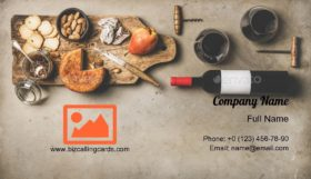 Wine and snack set Business Card Template