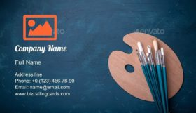 Artist paint brushes Business Card Template