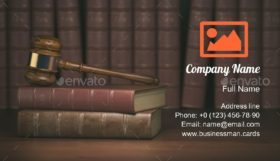 Gavel on Lawyer Books Business Card Template