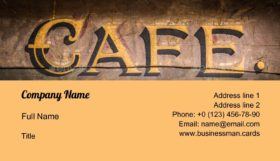 Retro Grungy Cafe Sign Business Card Template
