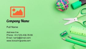 School Accessories Business Card Template