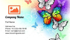 Rainbow Butterfly Business Card Template