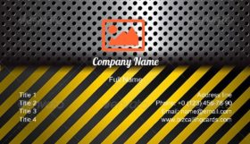 Metal Warning Stripes Business Card Template