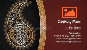 Indian Sari Pattern Business Card Template