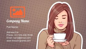 Woman Holding Cup Business Card Template