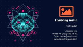 Cat sacred Geometry Business Card Template