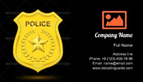 Gold Police Badge Business Card Template