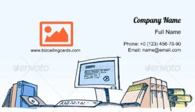 Sketch of a Computer Business Card Template