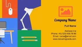 Office Colorful Objects Business Card Template