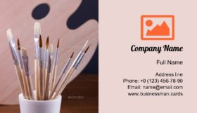 Set of Painting Brushes Business Card Template
