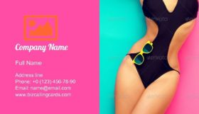 Sexy Girl in Bathing Suit Business Card Template