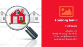 Magnifying glass find house Business Card Template