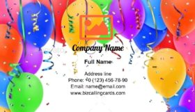 Ribbons and Balloons Business Card Template