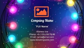 Garland Of Bulbs Business Card Template